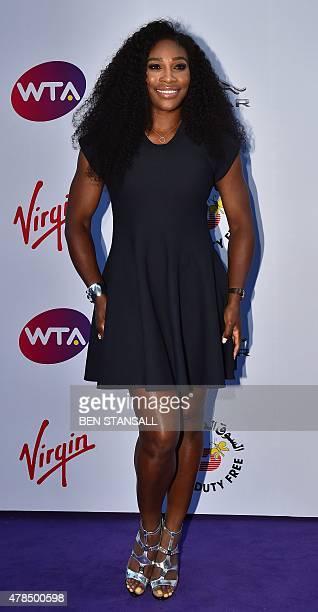 US player Serena Williams arrives to attend the Women's Tennis Association's preWimbledon party in Kensington London on June 25 2015 Wimbledon known...