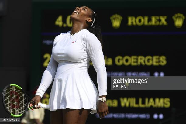 US player Serena Williams celebrates after beating Germany's Julia Goerges 62 64 in their women's singles semifinal match on the tenth day of the...