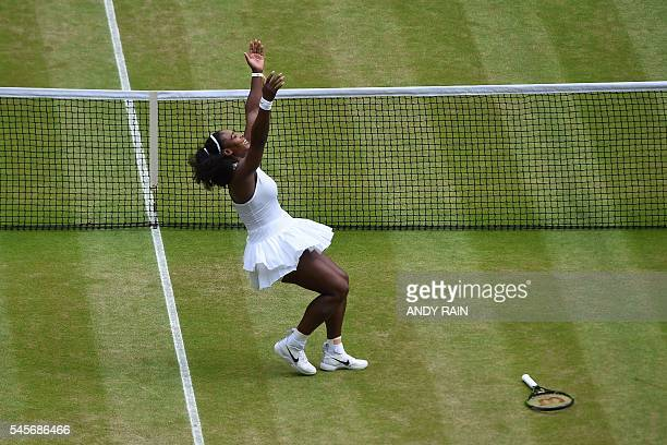TOPSHOT US player Serena Williams celebrates beating Germany's Angelique Kerber in the women's singles final on the thirteenth day of the 2016...