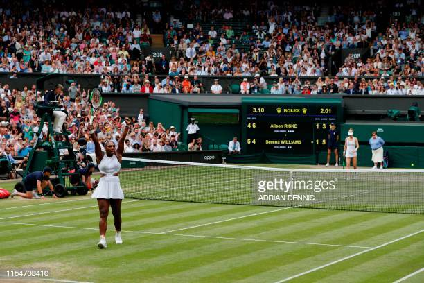US player Serena Williams celebrates beating US player Alison Riske during their women's singles quarterfinal match on day eight of the 2019...