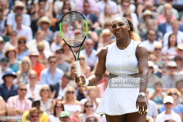 US player Serena Williams reacts after a point against Czech Republic's Barbora Strycova during their women's singles semifinal match on day ten of...