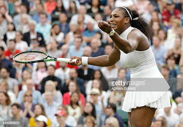 US player Serena Williams reacts while playing US player Christina McHale during their women's singles second round match on the fifth day of the...