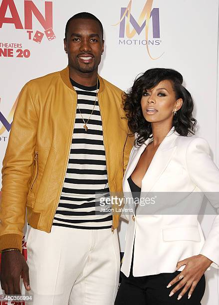 NBA player Serge Ibaka and singer Keri Hilson attend the premiere of 'Think Like A Man Too' at TCL Chinese Theatre on June 9 2014 in Hollywood...