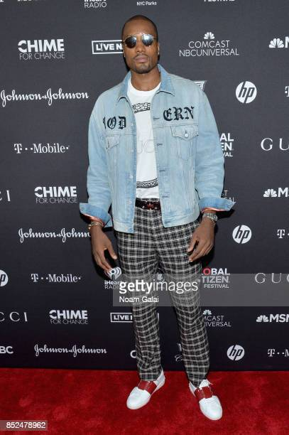 NBA player Serge Ibaka poses in the VIP Lounge during the 2017 Global Citizen Festival in Central Park on September 23 2017 in New York City