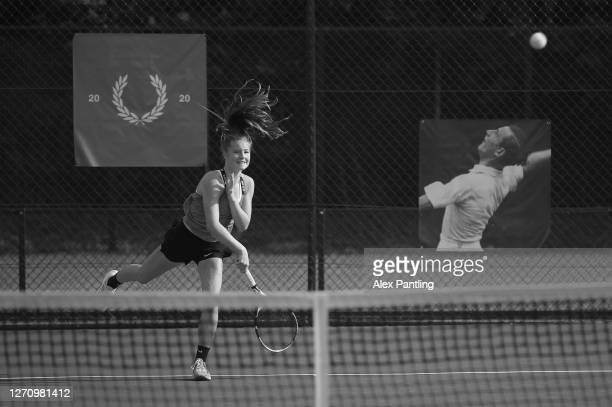 Player serves during qualifying for the 2020 Fred Perry Championships at Nottingham Tennis Centre on September 05, 2020 in Nottingham, England.