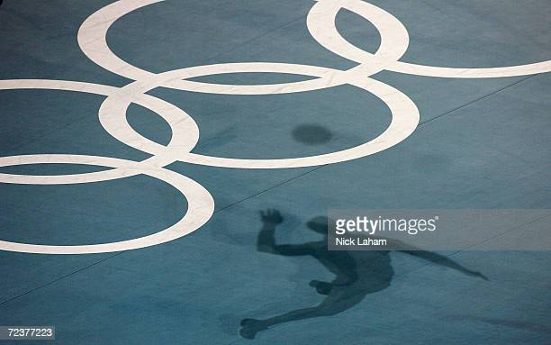 A player serves in the men's indoor Volleyball preliminary match between Australia and the United States on August 21 2004 during the Athens 2004...