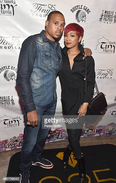 Player Shannon Brown and recording artist Monica Brown attend Tiny Harris Celebrity Birthday Celebration at Scales 925 on July 14, 2015 in Atlanta,...