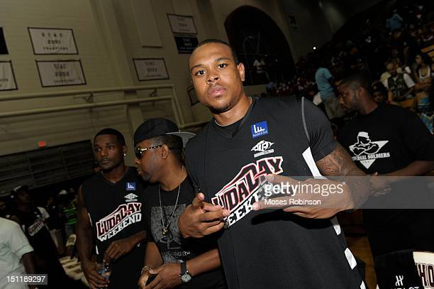 Player Shannon Brown attends the LudaDay 2012 Weekend Celebrity Basketball Game at Forbes Arena on September 2, 2012 in Atlanta, Georgia.