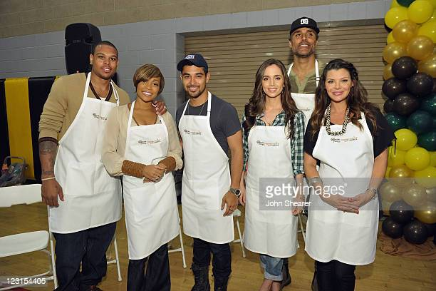 NBA player Shannon Brown recording artist Monica actors Wilmer Valderrama Eliza Dushku former NBA player Rick Rox and Ali Landry join The Cheesecake...