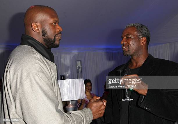 Player Shaquille O'Neal and former NBA player Charles Oakley attend the Jordan Brand Fabulous 23 Cocktail Party and Dinner held at the W Hotel Wet...