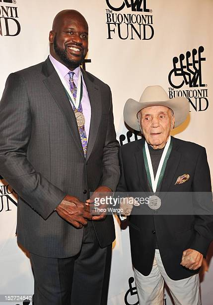 NBA player Shaquille O'Neal and retired professional boxer Jake LaMotta attend the 27th Annual Great Sports Legends Dinner to benefit the Buoniconti...