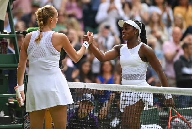 Player Sloane Stephens shakes hands with Czech Republic's Petra Kvitova after wining their women's singles first round match on the first day of the...