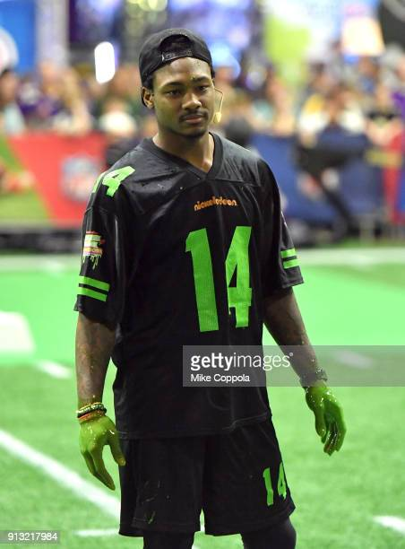 NFL player Stefon Diggs attends the Superstar Slime Showdown taping at Nickelodeon at the Super Bowl Experience on February 1 2018 in Minneapolis...