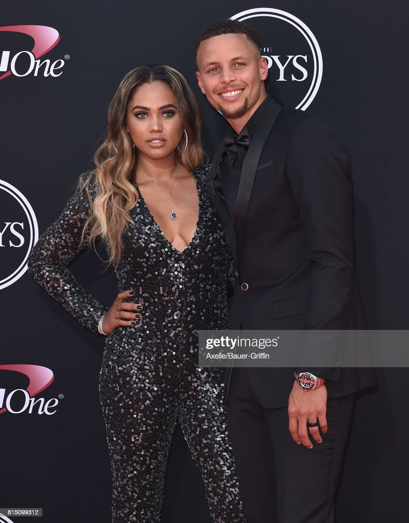NBA player Steph Curry (R) and author Ayesha Curry arrive at the 2017 ESPYS at Microsoft Theater on July 12, 2017 in Los Angeles, California.