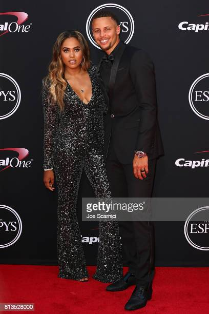 NBA player Steph Curry and Ayesha Curry arrive at the 2017 ESPYS at Microsoft Theater on July 12 2017 in Los Angeles California