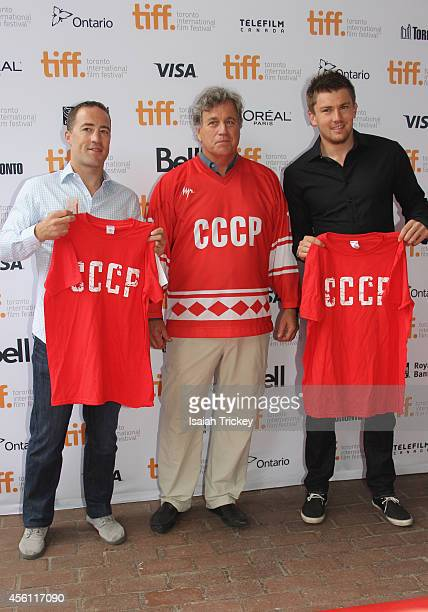 NHL Player Stephane Robidas CoFounder of Sony Pictures Classics Tom Bernard and NHL Player James van Riemsdyk arrive at the 'Red Army' Premiere...
