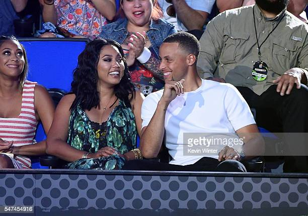 NBA player Stephen Curry and Ayesha Curry attend the Nickelodeon Kids' Choice Sports Awards 2016 at UCLA's Pauley Pavilion on July 14 2016 in...