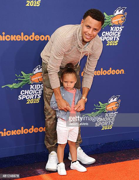 NBA player Stephen Curry and daughter Riley Curry attend the Nickelodeon Kids' Choice Sports Awards at UCLA's Pauley Pavilion on July 16 2015 in...