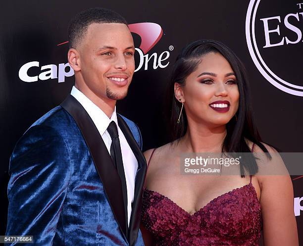 NBA player Stephen Curry and wife Ayesha Curry arrive at The 2016 ESPYS at Microsoft Theater on July 13 2016 in Los Angeles California