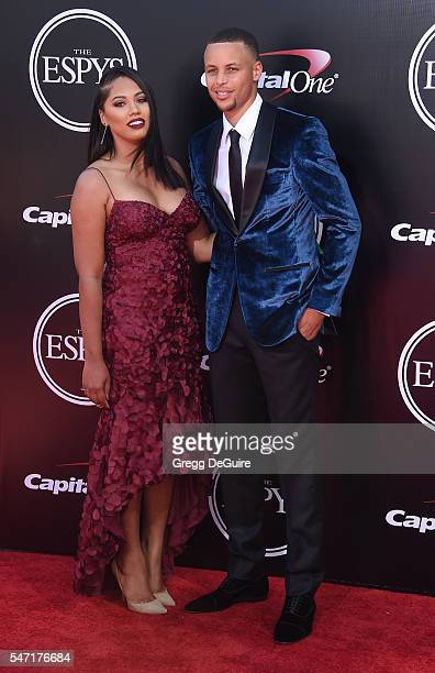 NBA player Stephen Curry and wife Ayesha Curry arrives at The 2016 ESPYS at Microsoft Theater on July 13 2016 in Los Angeles California