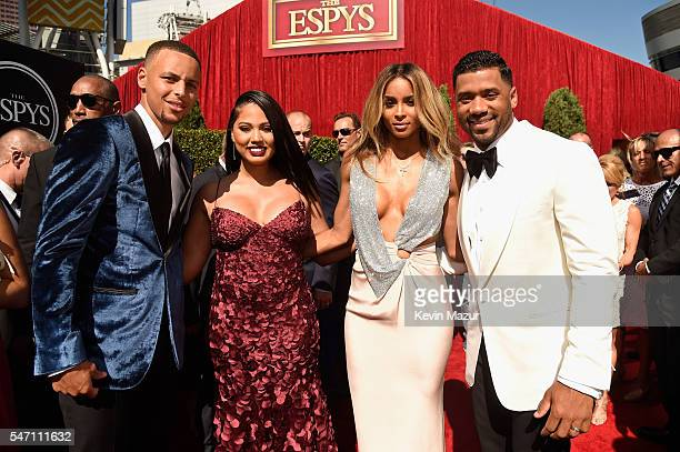 NBA player Stephen Curry Ayesha Curry recording artist Ciara and NFL player Russell Wilson attend the 2016 ESPYS at Microsoft Theater on July 13 2016...