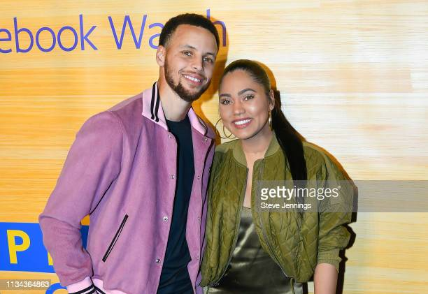 NBA Player Stephen Curry of the Golden State Warriors and Ayesha Curry attend the Stephen Vs The Game Facebook Watch Preview at 16th Street Station...
