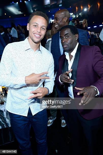 Player Stephen Curry of the Golden State Warriors and comedian Gary 'G-Thang' Johnson attend The Players' Awards presented by BET at the Rio Hotel &...