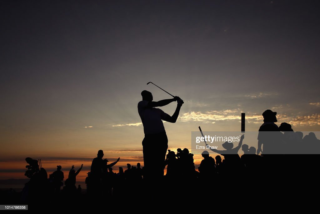 NBA player Stephen Curry of the Golden State Warriors hits his second shot on the 18th hole during Round Two of the Ellie Mae Classic at TBC Stonebrae on August 10, 2018 in Hayward, California.