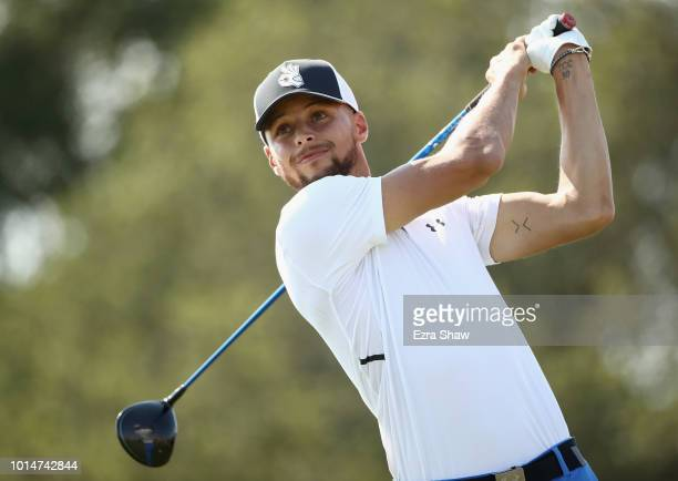 Player Stephen Curry of the Golden State Warriors tees off on the seventh hole during Round Two of the Ellie Mae Classic at TBC Stonebrae on August...