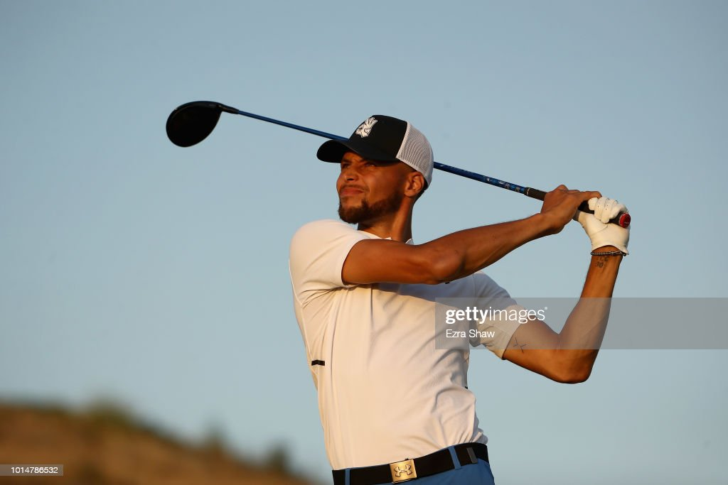 NBA player Stephen Curry of the Golden State Warriors tees off on the 17th hole during Round Two of the Ellie Mae Classic at TBC Stonebrae on August 10, 2018 in Hayward, California.