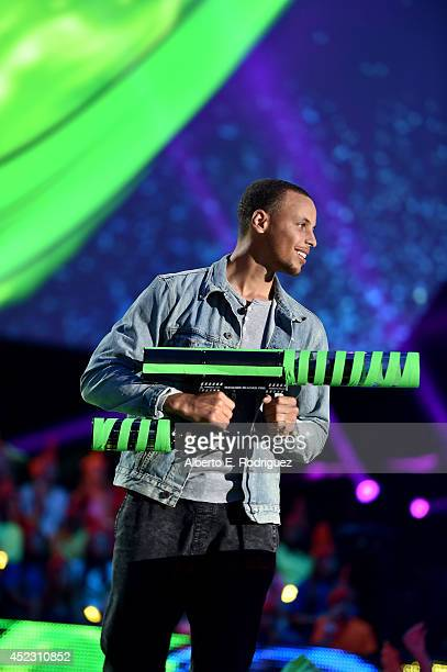 NBA player Stephen Curry speaks onstage during Nickelodeon Kids' Choice Sports Awards 2014 at UCLA's Pauley Pavilion on July 17 2014 in Los Angeles...