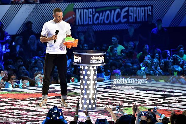Player Stephen Curry speaks onstage during the Nickelodeon Kids' Choice Sports Awards 2016 at UCLA's Pauley Pavilion on July 14, 2016 in Westwood,...