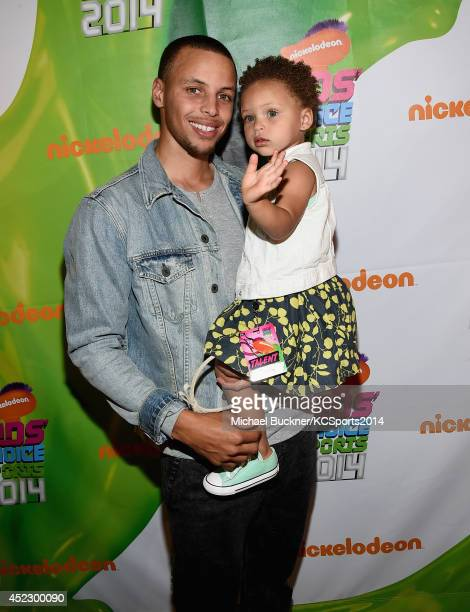NBA player Stephen Curry with daughter Riley Curry attends Nickelodeon Kids' Choice Sports Awards 2014 at UCLA's Pauley Pavilion on July 17 2014 in...