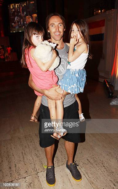 NBA player Steve Nash and his daughters attend Cipriani Wall Street after the 2010 World Cup Final between Spain and Netherlands on July 11 2010 in...