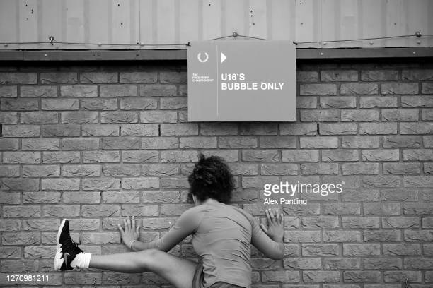 Player stretches during qualifying for the 2020 Fred Perry Championships at Nottingham Tennis Centre on September 05, 2020 in Nottingham, England.