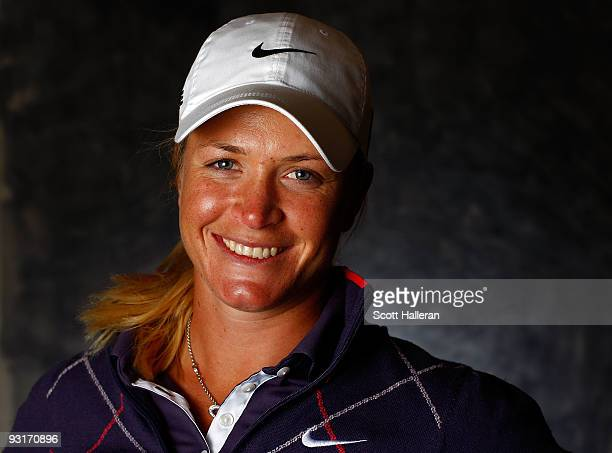 LPGA player Suzann Pettersen of Norway poses for a portrait prior to the start of The LPGA Championship at the Houstonian Golf and Country Club on...