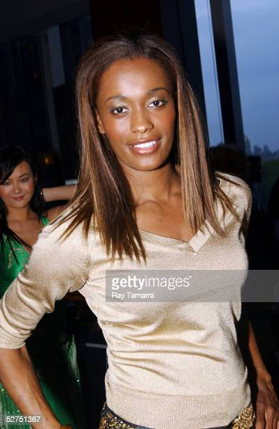Player Swin Cash poses for photos at Bacardi's Big Apple Celebrity Fashion Show After Party at Stone Rose May 02, 2005 in New York City.