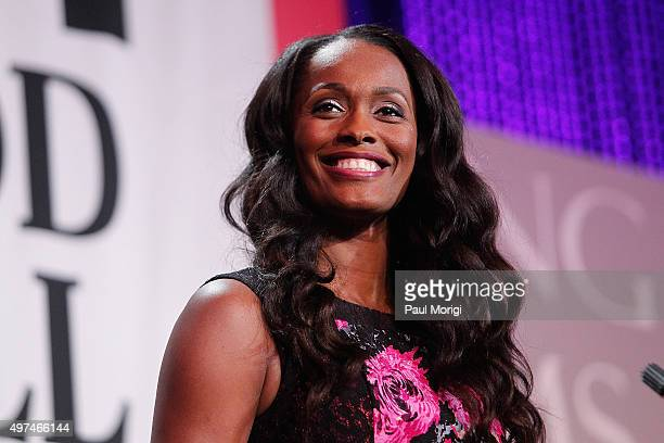 WNBA player Swin Cash speaks on stage at the Thurgood Marshall College Fund 27th Annual Awards Gala at the Washington Hilton on November 16 2015 in...