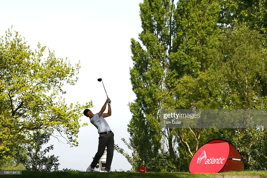 A player tees off from the 1st hole during the Virgin Atlantic PGA National Pro-Am Championship Regional Qualifier at Dunham Forest Golf and Country Club on May 21, 2010 in Manchester, England.