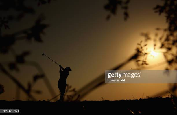 A player tees off on the 15th hole during Day Two of the Fatima Bint Mubarak Ladies Open at Saadiyat Beach Golf Club on November 2 2017 in Abu Dhabi...