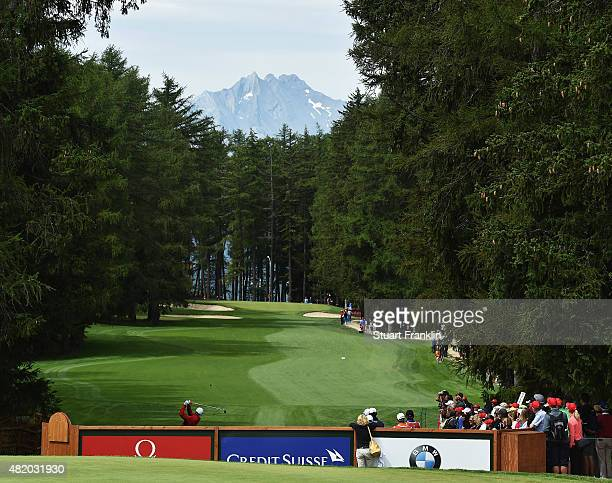 A player tees off on the sixth hole during the final round of the Omega European Masters at CranssurSierre Golf Club on July 26 2015 in CransMontana...