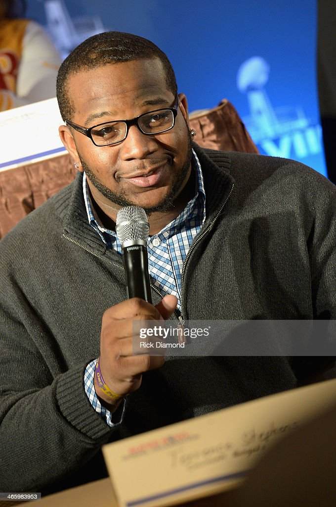 NFL player Terrence Stephens speaks at the Super Bowl Gospel Celebration press conference at Super Bowl XLVIII Media Center, Sheraton Times Square on January 30, 2014 in New York City.