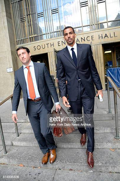 NBA player Thabo Sefolosha of the Atlanta Hawks leaves Manhattan Criminal Court on Monday October 5 2015 Sefolosha is charged with obstruction after...