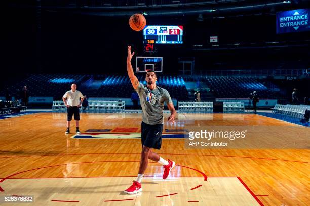 Player Thabo Sefolosha of Utah Jazz throws the ball to the net during a practice session on the eve of the NBA Africa Game 2017 basketball match...