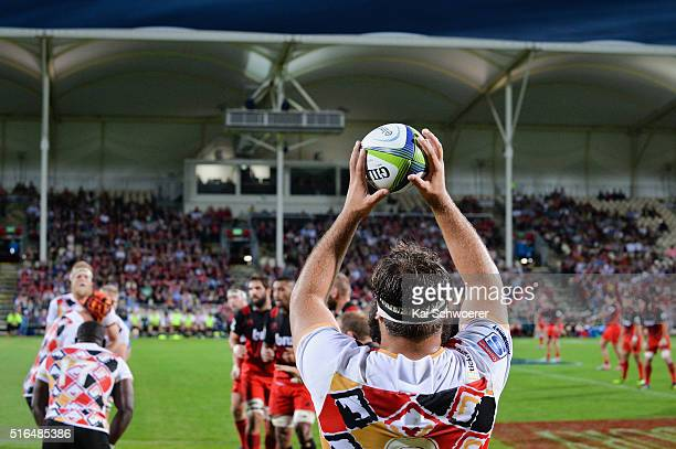 Player throws the ball into the lineout during the round four Super Rugby match between the Crusaders and the Kings at AMI Stadium on March 19, 2016...