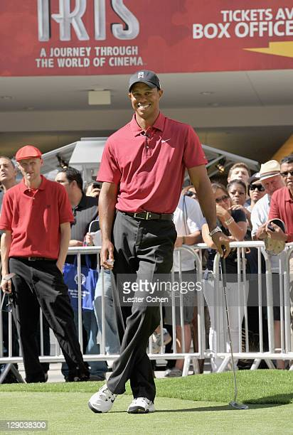 Player Tiger Woods attends the Chevron World Challenge - Host Tiger Woods makes press announcement for 2011 Field and Putt with local fans held at...