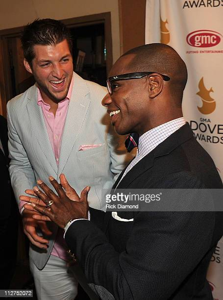 Player Tim Tebow and singer Kirk Franklin attend the 42nd Annual GMA Dove Awards at The Fox Theatre on April 20, 2011 in Atlanta City.