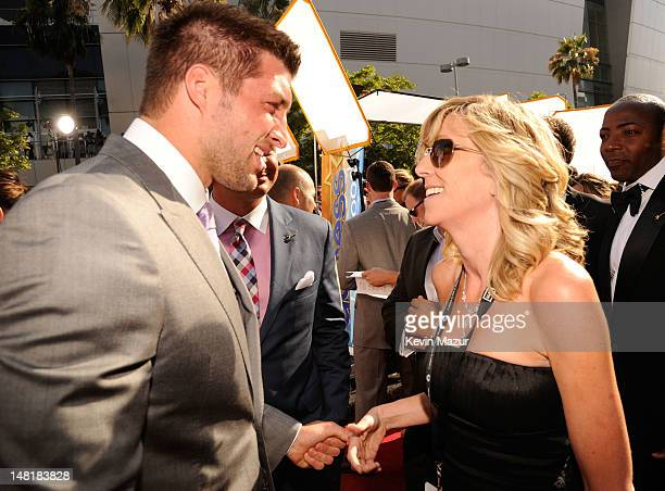 NFL player Tim Tebow of the New York Jets and Maura Mandt arrive at the 2012 ESPY Awards at Nokia Theatre LA Live on July 11 2012 in Los Angeles...