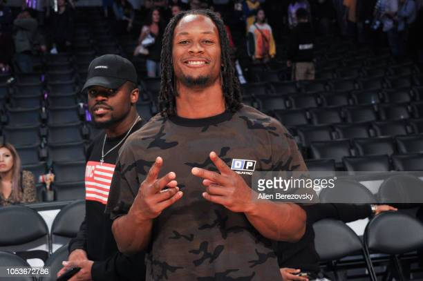 NFL player Todd Gurley attends a basketball game between the Los Angeles Lakers and the Denver Nuggets at Staples Center on October 25 2018 in Los...