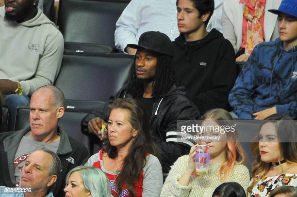 NFL player Todd Gurley attends a basketball game between the Los Angeles Clippers and the Golden State Warriors at Staples Center on October 30 2017...